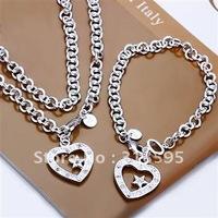 Wholesale - & Hot sell !925 sterling silver  Heart Star Necklace&Bracelet set for sale S032