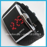 hot LED luxury Date digital watch Mens Sports red/blue Led watch best quality and promotion price