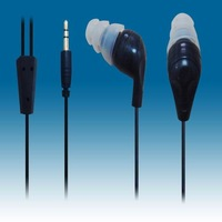 Free Shipping Balck waterproof  earphones for iPhone iPad with 3.5mm plug and 1.2m cord length