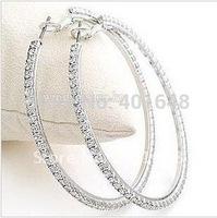 crystal  hoop Earrings Big Circle Promotion Earrings diameter about 5cm