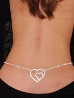 Sexy Party Jewelry Fashion Belly Chain Women's Jewellery Double Heart Rhinestone Belly Chain Free Shipping  Sexy Party Jewelry