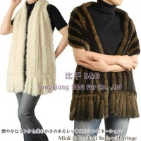 BG100830 New Style Many Colors Genuine Wide Mink Fur Scarves with Tassels Winter Women Luxurious Scareves