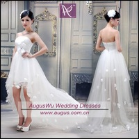 AWB0376 Simple Strapless Applique White Tulle High Low Wedding Dresses