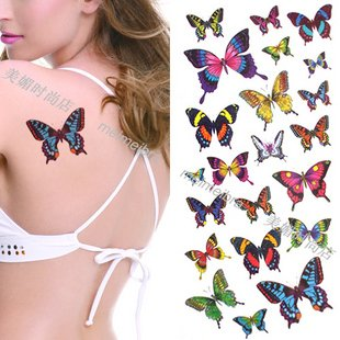 Fashion hot selling colorful Butterfly temporary tattoos for girls