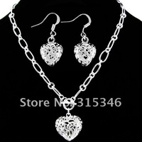 Hot heart silver-electroplated jewelery sets charm heart love silver earrings necklace set fashion jewelry S097