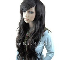 $wholesale_jewelry_wig$ free shipping Sexy belle femme noir longue perruques\wig+caop