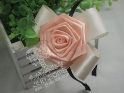 Jynbows Steel Hair Head Band Headband with Big Coral Rose, 11.5*10CM-Hairband-Hair Accessory(China (Mainland))