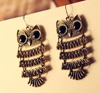 Promotion Bohemian Retro Owl  Earring Pendant Earring R3004