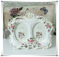 "Size 3.5 x 5"" White Double Photos Frames with Rose Flowers Decorations Oval Design Resin Craft Sweety Gift Free Shipping"