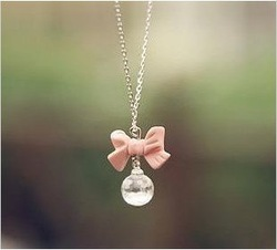 Min.order is $15 (mix order) Fashion Pink Butterfly Pendant Necklace X4047(China (Mainland))