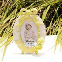 "4 x 6""  Children Photo Frames with Bear Decorations Oval Design Resin Craft Sweety Gift Free Shipping"