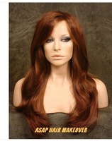 Full Body Texture Long Wig Wigs with  Layers in Dark Auburn & Copper/BlondeBrazilian fashion