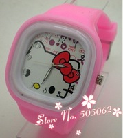100 pcs UPS/DHL Free Shipping Full Colors For Options,Children Colorful Candy Hello Kitty Square Jelly Silicone Watch L13