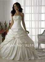 Free shipping CX-11 Elegant A-line Strapless Sleeveless Embroidery Teffeta Write/Ivory Wedding Dress Custom-made