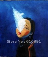 """chinese pop oil painting girl smoke12x12"""" canvas small modern Contemporary REPRO"""