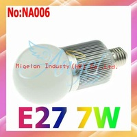 Wholesale LED Bulbs E27 7W AC 90V-265V High Power with Epistar chip 3 years Warranty Free shipping #NA006