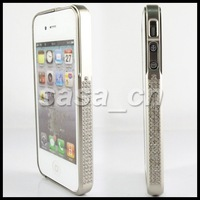 For iPhone 4 4S Diamond Rhinestone Bling Bling Luxury Bumper Case With Retail Package Free shipping