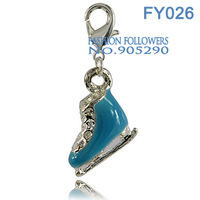 Free Shipping Fashion Jewelry Necklaces & Pendants Accessories Floating Lucky Metal Ice Skate Charms With Lobster Clasp FY026