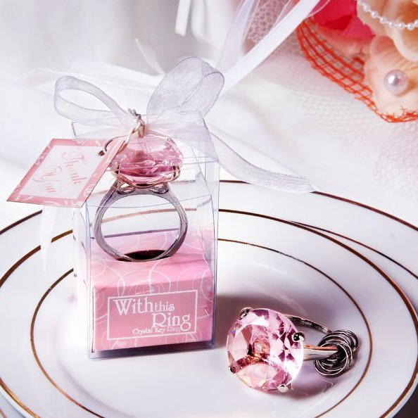 Free Shipping +Wedding Favors With This Ring Crystal Keychain Ring in Pink Color +100pcs/ lot(RWF-0022KC)(China (Mainland))