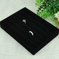 Black Velvet Ring Jewelry Display Tray Holder Case Gift