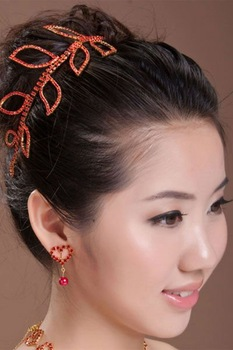 Romantic Red Rhinestone Leaves Hair Ornaments Fashion Ladies Hair Jewelry Party Jewelry Romantic  Leaves Hair Ornaments