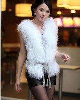 (KG1208-2) Women's Mongolian fur wasitcoat/fur vest with Rabbit fur back/two face/black white brown grey/wholesale