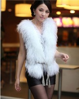 (KG1208-2) Women's Mongolian fur wasitcoat/fur vest with Rabbit fur back/two face/black white brown grey/wholesale