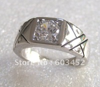 .Exquisite 18K White Gold GP White Topaz  Men's Ring; can mix.Free shipping ;Provide tracking number.
