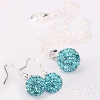 Ювелирный набор 2012 Shamballa bracelet stud Earrings Turquoise Crystal Ball pendant Necklace jewelry Set