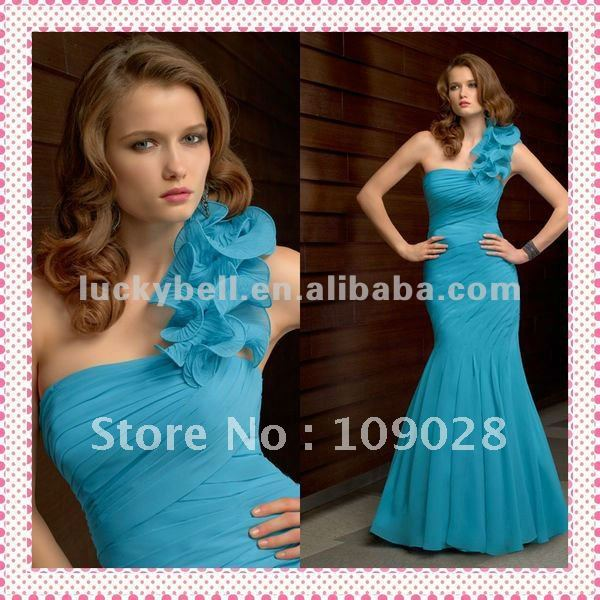 Free shipping Distributor One-Shoulder Chiffon Baby Blue Prom Dress(China (Mainland))