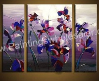 Handpainted modern group floral oil painting,fleur-de-lis,size 90*120cm,purple poppy 3 pieces