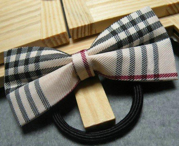 nova check plaid tartan bowknot ponytail holder hair tie band elastic band rope hair bow,free shipping,50pcs/lot.HPT007(China (Mainland))