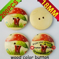 200PCS  18MM mushrooms pattern wood color sewing button cloth accessories MCB-182M