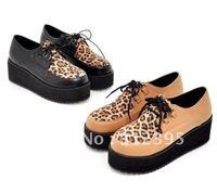 FREE& British Leopard Lace Up Punk Goth High Platform Flat Creeper Shoes