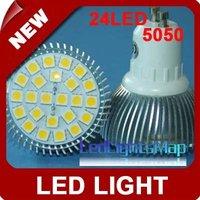 Free Shipping GU10 24 LEDS 5050 LED SMD Spotlight light lamp 220V 5W Warm White [LedLightsMap ]