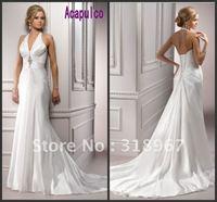 TS Hot Style!!!Customized Free Shipping Sheath Chapel Train Halter V-Neck Satin Beaded Elegant Wedding Dress