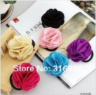 Korea hairwear camellia Elastic Girl Hair Tie Bands rose flower Headband hair Strap