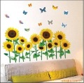 Sunflower and butterfly wall stickers on sale,cheap wall paster/poster,wall decals retail wholesale,FREE shipping,size 35*60cm