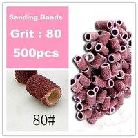 Free Shipping - 500 pieces 80 Degree Nail Art Drill Sanding Bands /Nail Drill Polishing Wheel