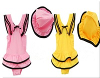 Wholesale 10sets/lot High quality Cover- ups Baby Swimwear Kids' swimsuit for girl pink yellow ETYY13 Free Shipping