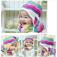 Wholesale Kids Cotton Winter Hat  Scarf  Cap Rainbow Striped Infant  Hat New Baby Cap Scarf Children Beadwear