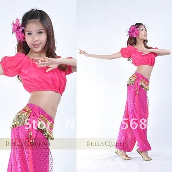 D19+2pcs Sexy Belly Dance Costume Lantern Top + Shinny Sequin Ballon Bloomers Pants