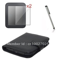 Free shipping Folio style PU leather case cover Film Stylus for NOOK2 nook table touch ebook reader,10pc/lot,black