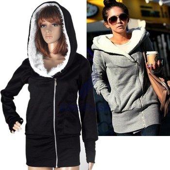 Free Shipping Fashion Stylish Korea Women's Hoodie Coat Warm Zip Up Outerwear Black Color