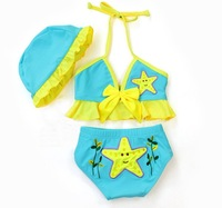 Wholesale 5sets/lot Fashion two pieces Baby Swimwear Kids' beachwear for girls Blue ETYY16 Free Shipping