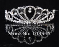 New Stylish Pretty Silver Crystal Rhinestone wedding bridal crown tiara Free Shipping  LKT0032