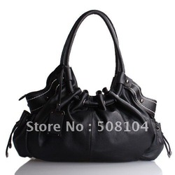Hot Sellers Free Shipping !!! 784 Black High end Leather Tag Bag(China (Mainland))