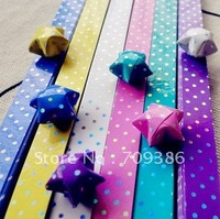 Origami Paper, iridescent paper luck stars strips,polka dot star strips, 30 piece/ pack