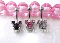 New Women's navel bell button ring Mickey Mouse shaped Body Jewelry crystal brand new