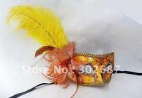 Free Shippimg 20 pcs Hallowmas Masquerade Gold Side Flower Plastic Feather Cloth Masks Venetian Dance Party Half Face Mask